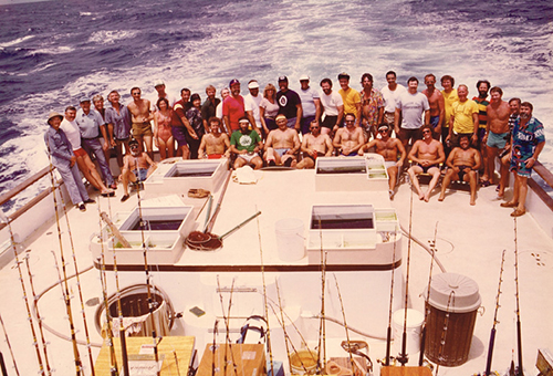 This is the picture of the Passengers and Crew from the Royal Polaris Trip to Clipperton Islands - March 10, 1983 Passengers: Brian Adamson, Clint & Linda Bower, Dave Buchanan, Gordon Cleveland,Jim Corey, Bill Craig, Ed & Susan DeLong, Dick & Marvel Dulmage, Bill Hagen, Carl Hansen, Jim Holland, Bud Einstoss, Howard Folsom, George Jennings, Ralph Mikkelsen, Chet Mondor, Gene Morford, Paul Murphy, Whitey Patterson, Kenneth Pepping, Wayne Prescott, Mike Richards, Ron Rock, Milt Shedd, Lee Stockland, Jim Stout, Mike Woods. Crew:Dean Adams, Steve Cassarino, Jim Heyns, Gene Hill, David Kagawa, Stephen Loomis, Frank LoPreste, J.R. Massa, Tommy Rothery.